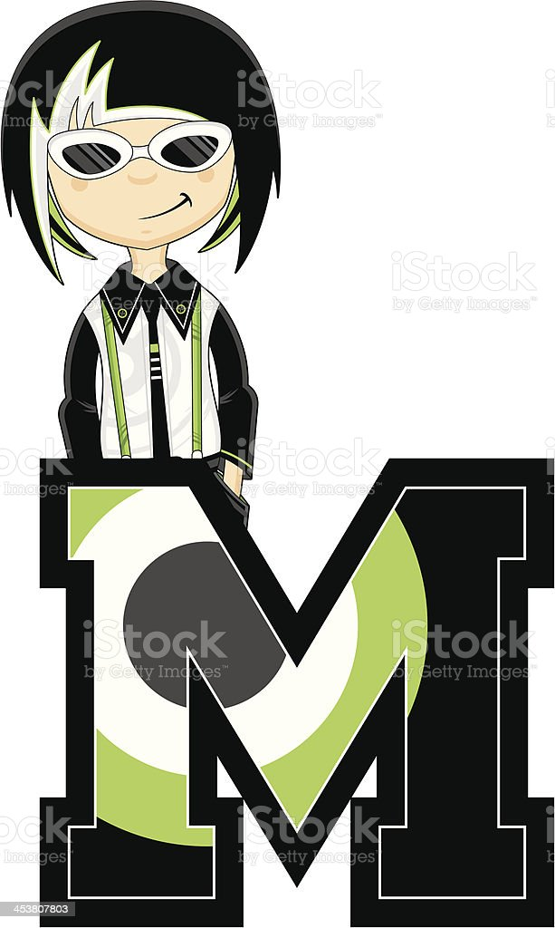 Cool Mod Girl Learning Letter M royalty-free cool mod girl learning letter m stock vector art & more images of 1960-1969