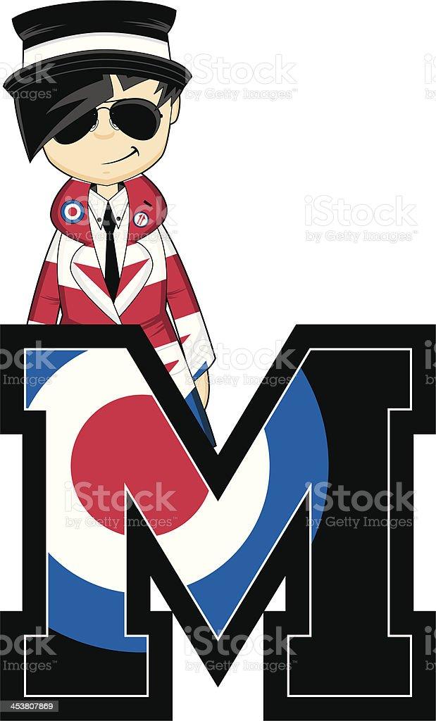 Cool Mod Girl Learning Letter M vector art illustration