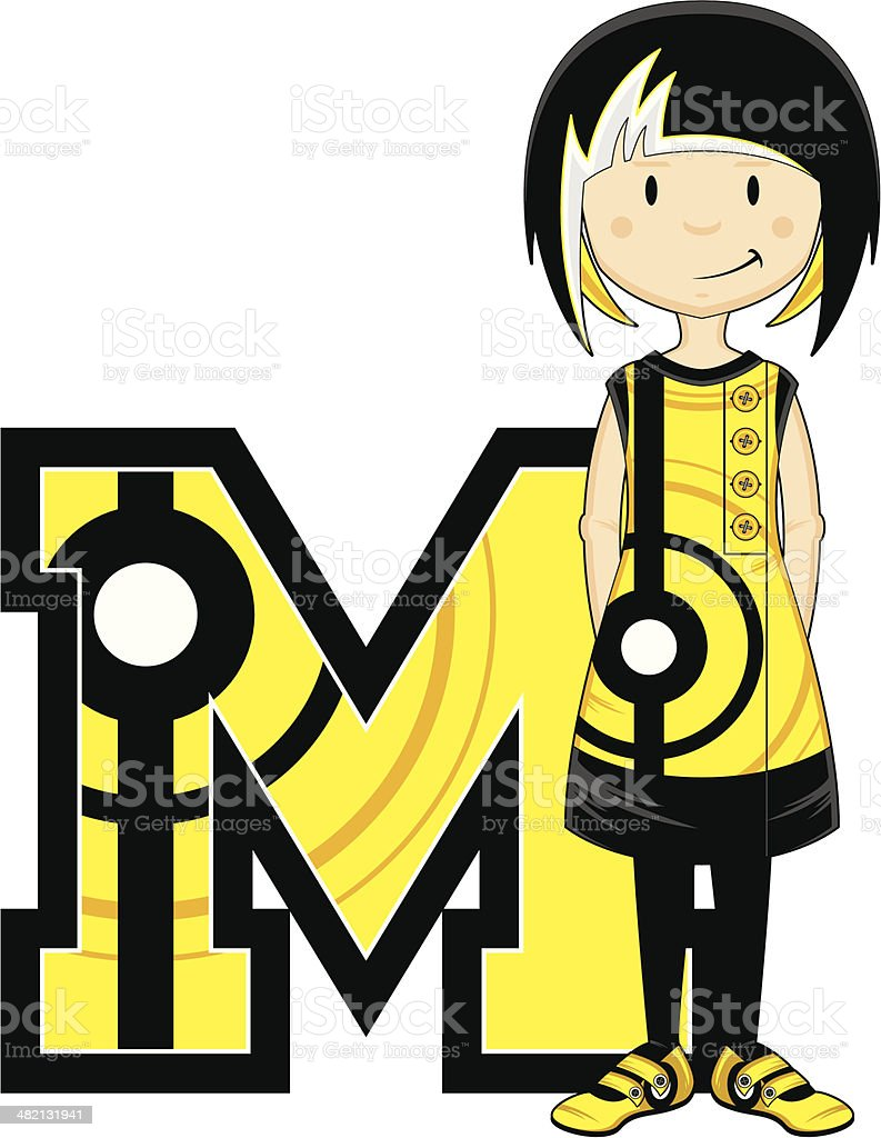 Cool Mod Girl Learning Letter M royalty-free stock vector art