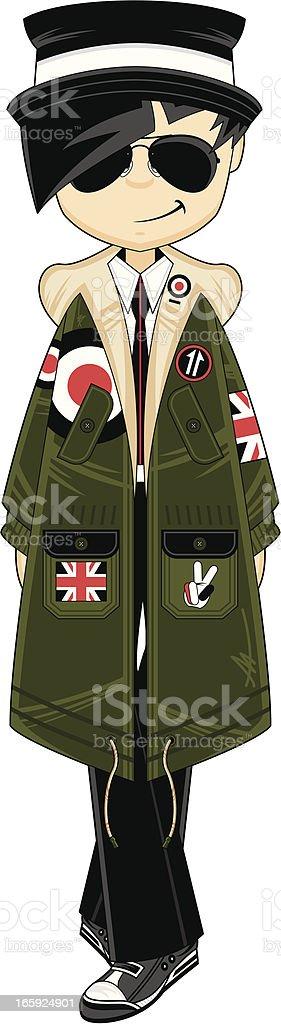 Cool Mod Girl wearing Parka Jacket vector art illustration