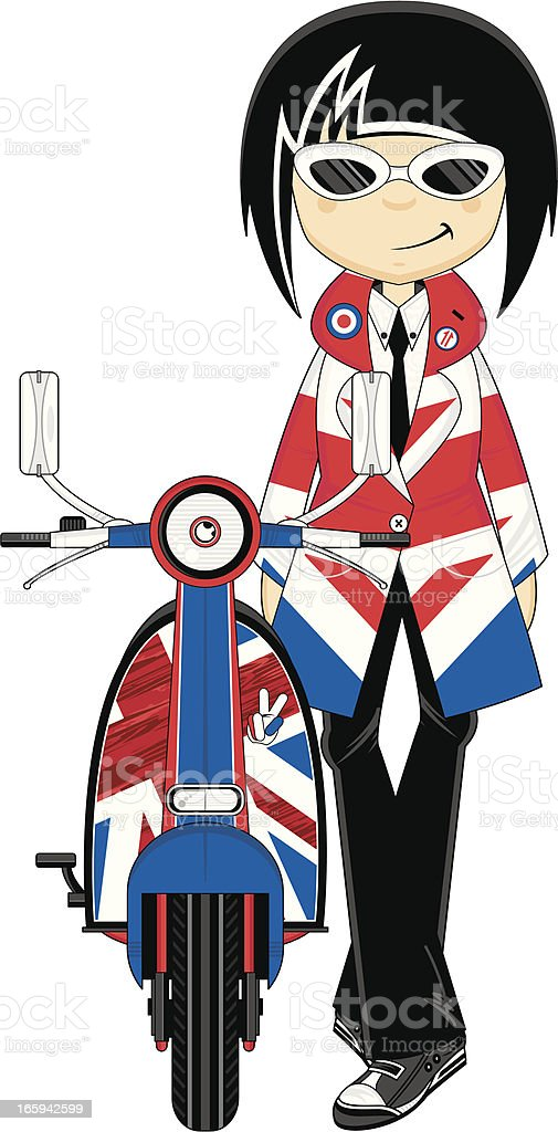 Cool Mod Girl with Retro Scooter royalty-free stock vector art