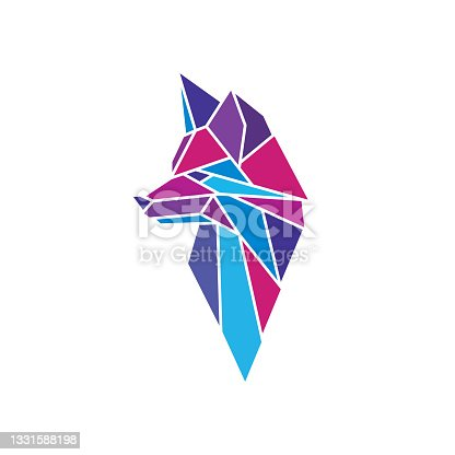 Cool modern polygonal image in the shape of a fox head. Geometric emblem, label, sign in origami style. Stylish animal mascot for brand design. Original simple minimal illustration for business, firm