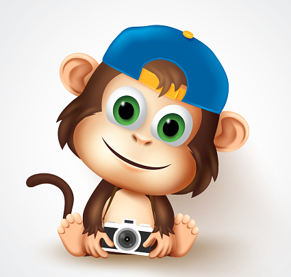 Cool monkey animal character vector design. Cute little monkey photographer in friendly facial expression while sitting and holding camera pose and gesture for t-shirt print design.