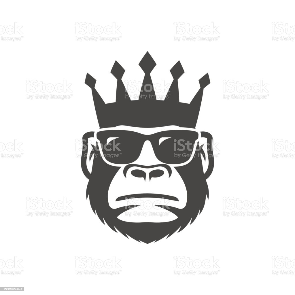 Cool monkey in sunglasses and crown.