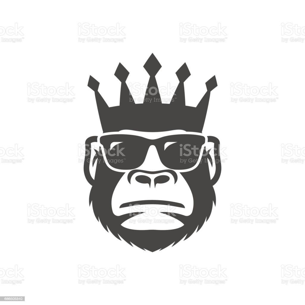 Mono fresco en gafas de sol y corona. - ilustración de arte vectorial