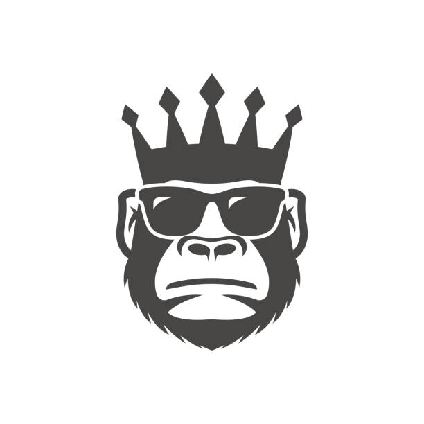 Cool monkey in sunglasses and crown. vector art illustration