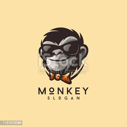 cool monkey logo design vector illustrator