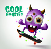 Cool monster skater character vector design. Skater cool monster character creature playing skateboard with funny face in white background. Vector Illustration.