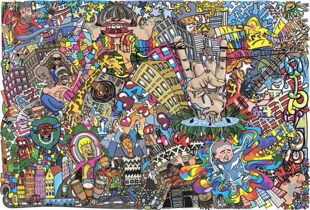 illustrazioni stock, clip art, cartoni animati e icone di tendenza di cool music graffiti in urban style - sfondo graffiti