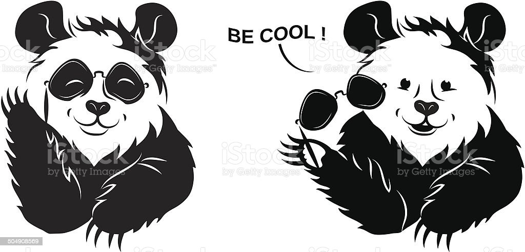 Cool Panda Draws Off Glasses Royalty Free Stock Vector