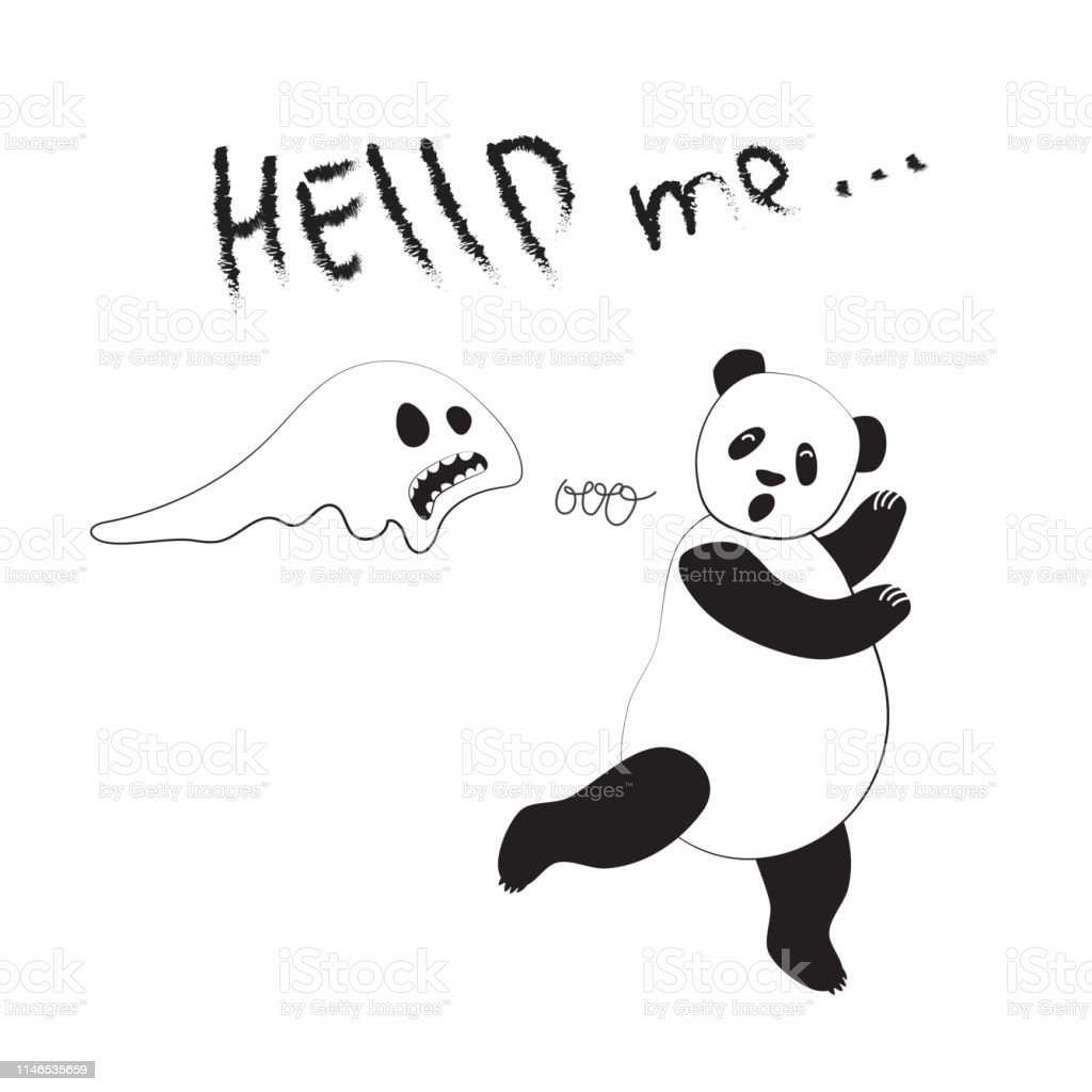 Cool Panda In Cartoon Style For The Design Of Postcards
