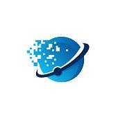 Cool Pixel Ball  designs concept vector, Technology Ball  template