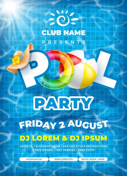 Cool Pool Party Poster Template Vector bright and fun advertising poster template for pool party. Colorful swimming ring, beach ball and letters float on crystal clean water with sunny highlights. Pool tile texture on background. pool party stock illustrations