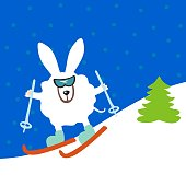 Cool rabbit to ski. The theme of active recreation and sport. fat rabbit sports. Vector illustration.