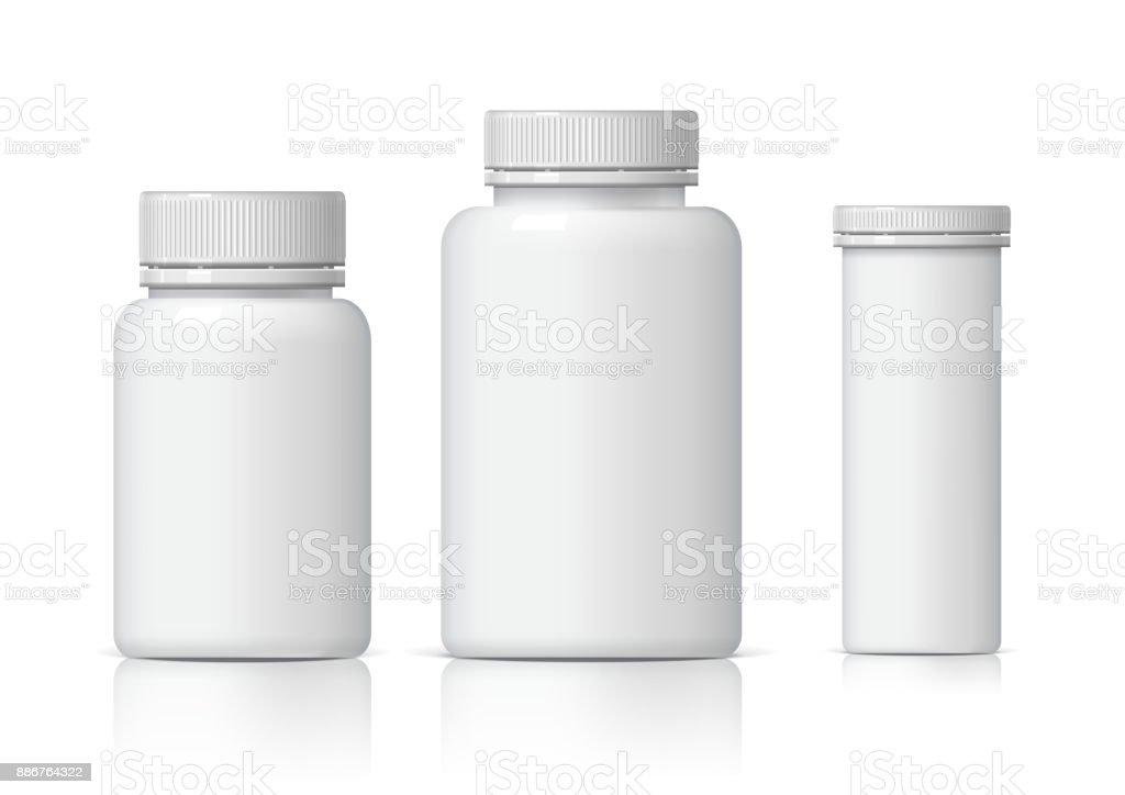 Fresco realista blanco conjunto de botellas de plástico. - ilustración de arte vectorial