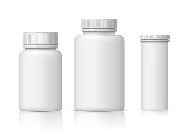 Cool Realistic White plastic bottle set. Cool Realistic White plastic bottle set. Product Packing medicine. Various fluids Vector Illustration bottle stock illustrations