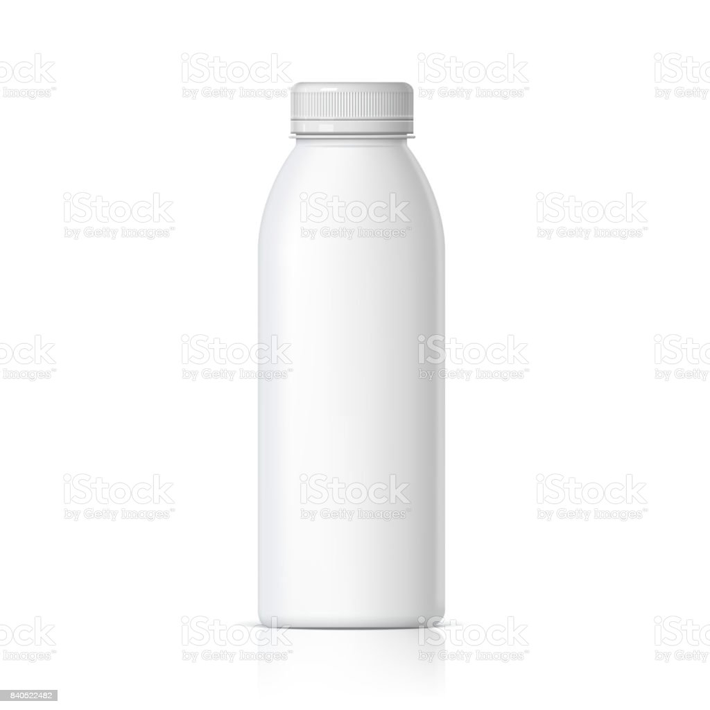 Cool Realistic White plastic bottle. vector art illustration