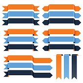 A set of vector ribbons in various designs and colors. All objects are grouped individually and layered according to colors.