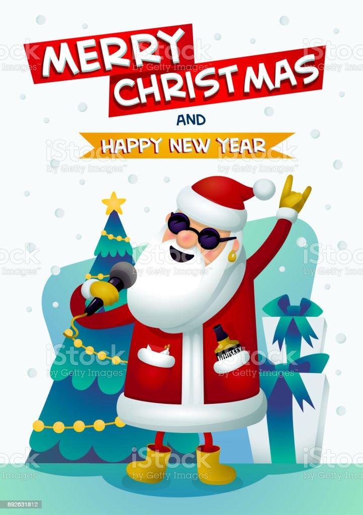 Coole Rockstar Santa Singende Weihnachtsmann Mit Frohe Weihnachten