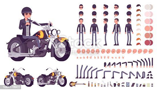 Cool rocker boy in biker leather jacket character creation set. Man riding chopper. Full length, different views, emotions, gestures. Build your own design. Cartoon flat style infographic illustration