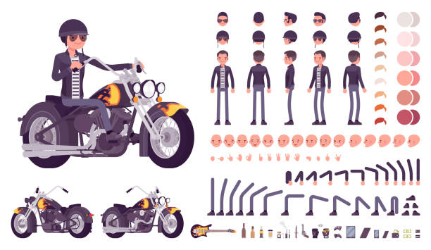 bildbanksillustrationer, clip art samt tecknat material och ikoner med cool rocker skapande teckenuppsättning - motorcyklist