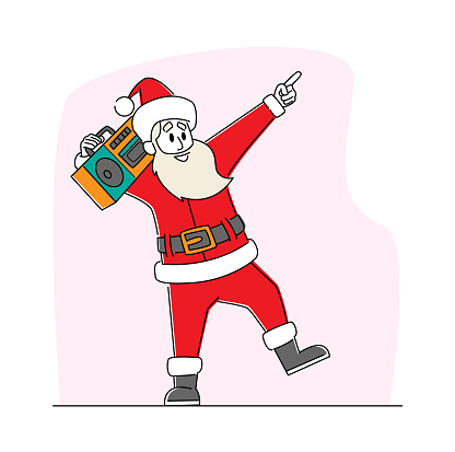 Cool Santa Claus Listening Music on Tape Recorder and Dancing. Funny Christmas Character in Red Traditional Costume