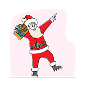 Cool Santa Claus Listening Music on Tape Recorder and Dancing. Funny Christmas Character in Red Traditional Costume Performing Modern Dance at Party or Xmas Celebration. Linear Vector Illustration