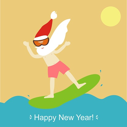Cool Santa Claus Windsurfen Frohes Neues Jahr Und Frohe Weihnachten Grußkarte Vektorillustration Stock Vektor Art und mehr Bilder von Aktivitäten und Sport