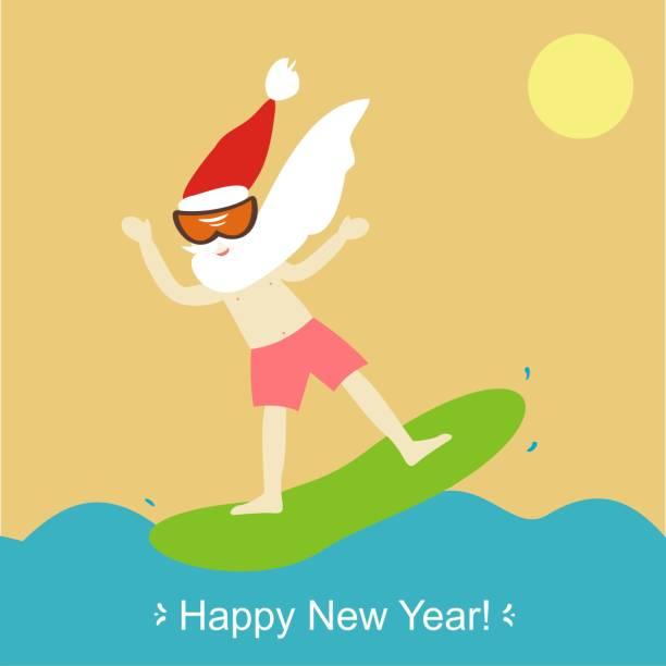 cool santa claus windsurfen. frohes neues jahr und frohe weihnachten! grußkarte. vektor-illustration. - extravagant schutzbrille stock-grafiken, -clipart, -cartoons und -symbole