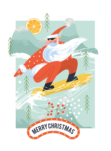 Cool Santa on a snowboard. Vector Christmas card.