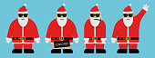 Cool Santa with sunglasses character set. Vector Illustration.