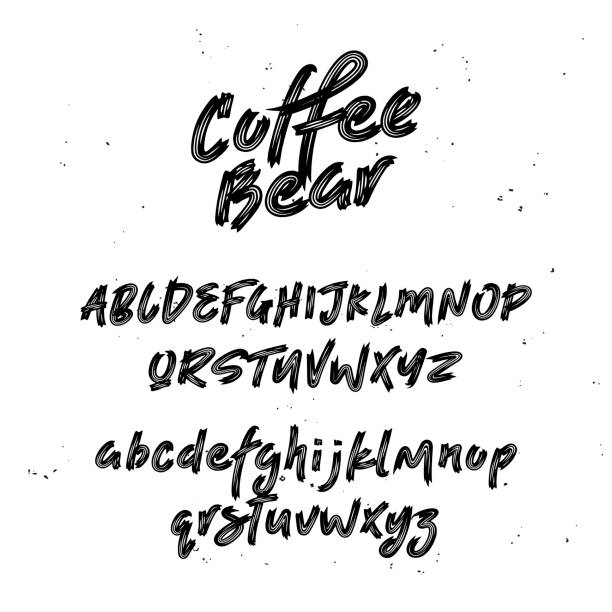 Cool Script Font. Pinsel bemalte Buchstaben. – Vektorgrafik