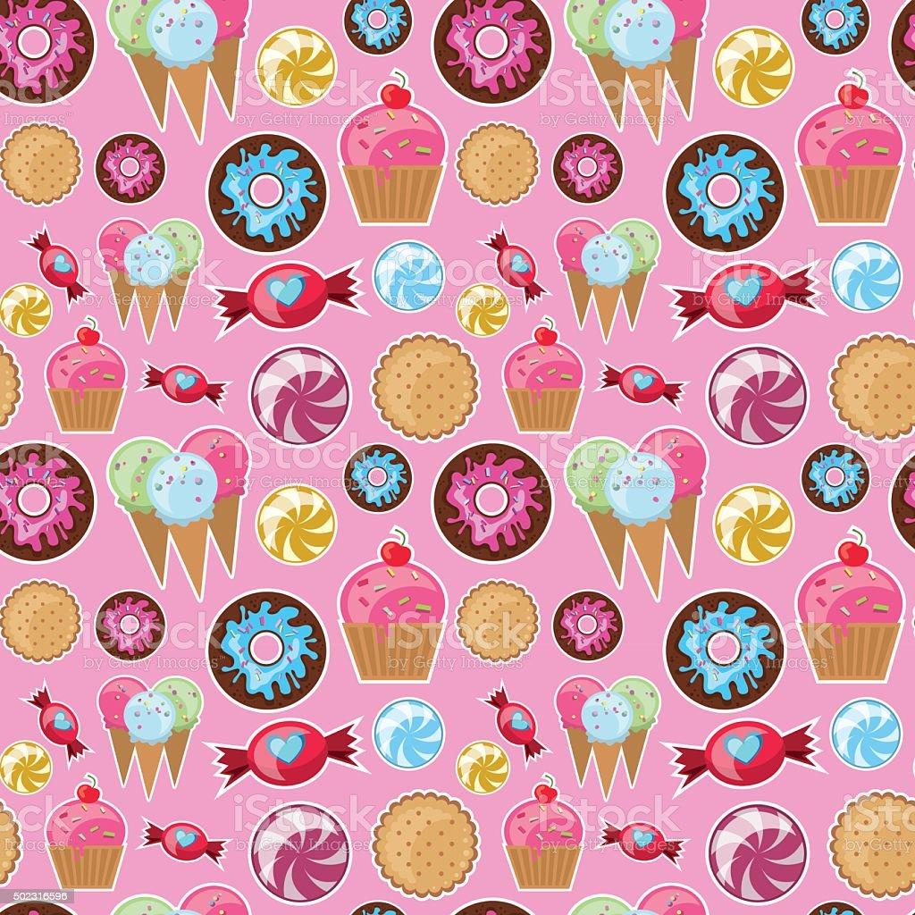 Coole Nahtlose Muster Mit Süßigkeiten Stock Vektor Art Und Mehr