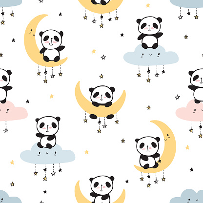 Cool seamless pattern with cute pandas on clouds, moons and stars