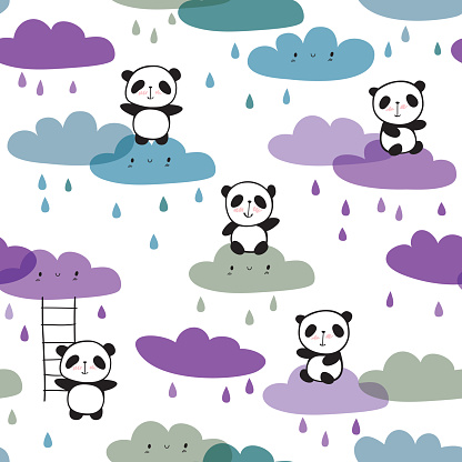 Cool seamless pattern with hand drawn cute pandas and funny clouds.