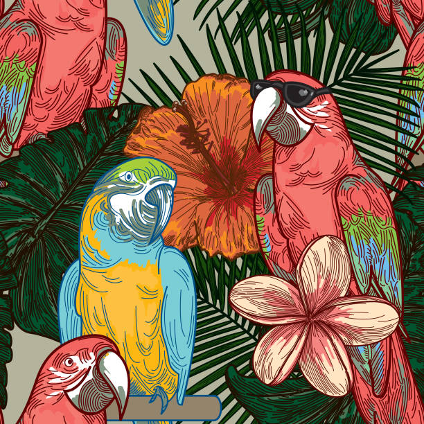 Cool Seamless Tropical Plant Parrot Pattern vector art illustration