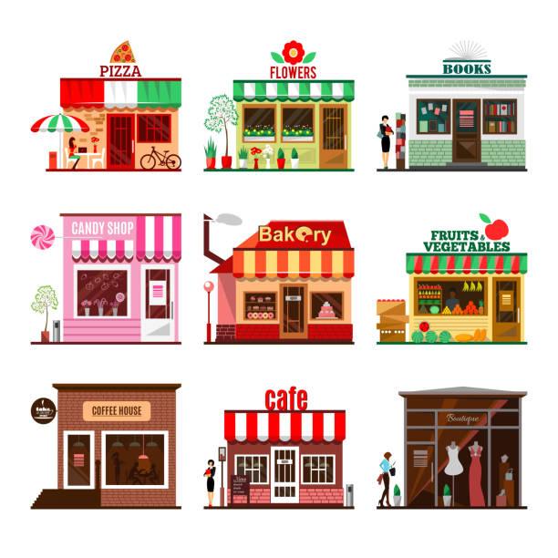 クールのセット詳細なフラットデザイン街の公共の建物 - パン屋点のイラスト素材/クリップアート素材/マンガ素材/アイコン素材