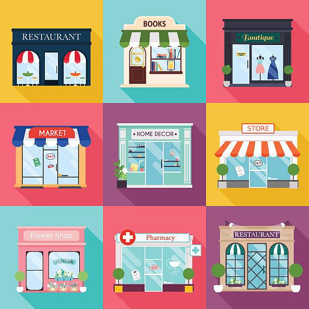cool set of vector detailed flat design restaurants and shops - 商店 幅插畫檔、美工圖案、卡通及圖標