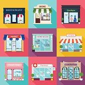 Cool set of vector detailed flat design restaurants and shops