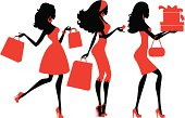 Three girls shopping. Click below for more fashion and shopping images.