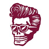 Cool skull face with rockabilly hairstyle and sunglasses vector illustration
