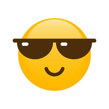 Cool Smiley in Sunglasses - Emoji Icon. Emoticon. Smile. Emotion. Funny Cartoon. Social Media. Vector iluustration