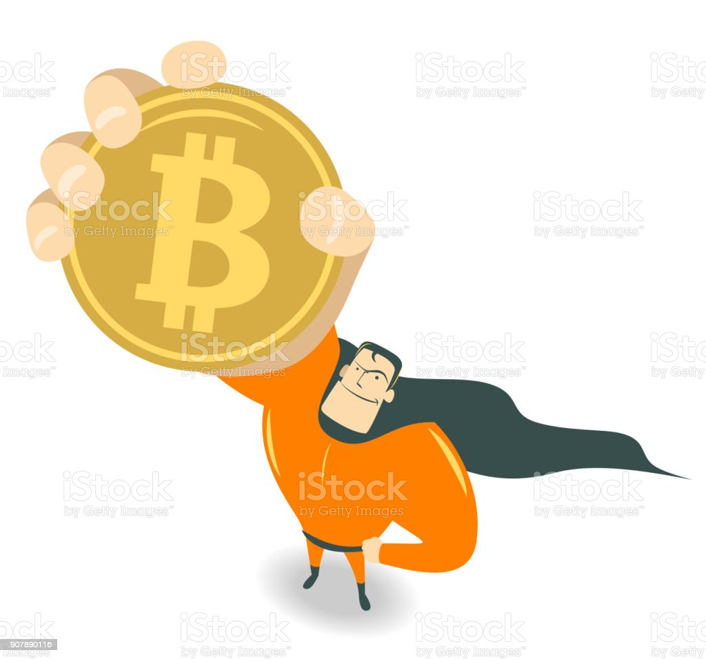 Cool smiling strong superhero standing looking upward and holding (showing) a huge bitcoin gold coin (cryptocurrency), one hand on the hip vector art illustration