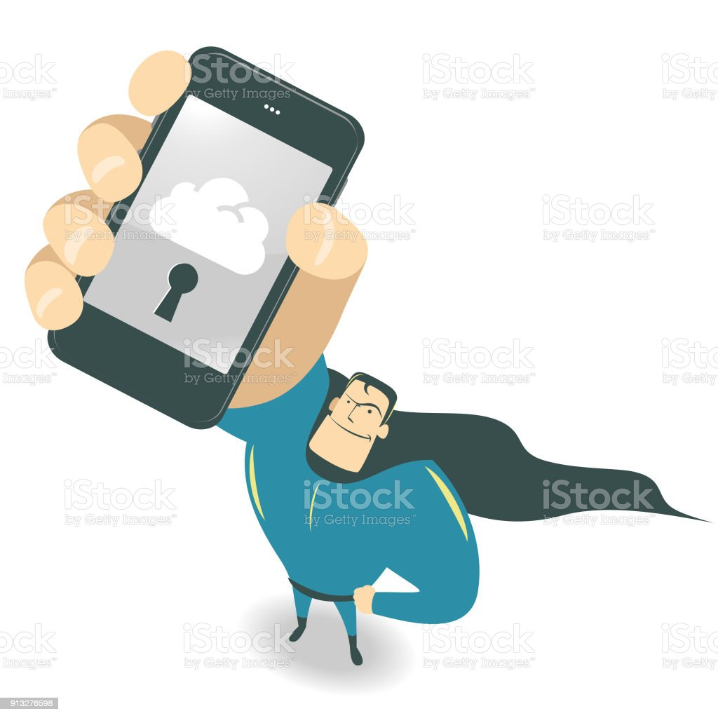 Cool smiling strong superhero standing looking upward and holding (showing) a smart phone (mobile phone), one hand on the hip vector art illustration
