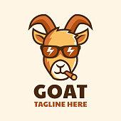 istock cool smoking goat wear glasses cartoon logo design 1270631789