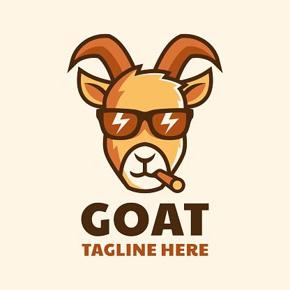 cool smoking goat wear glasses cartoon logo design