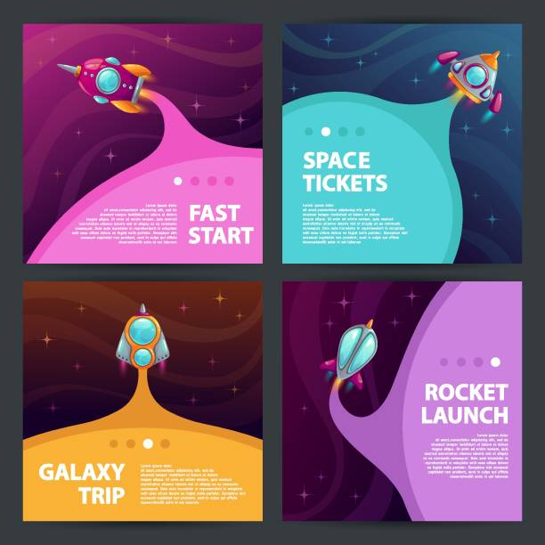 cool space banners set. - abstract of paper spaceship launch to space stock illustrations, clip art, cartoons, & icons