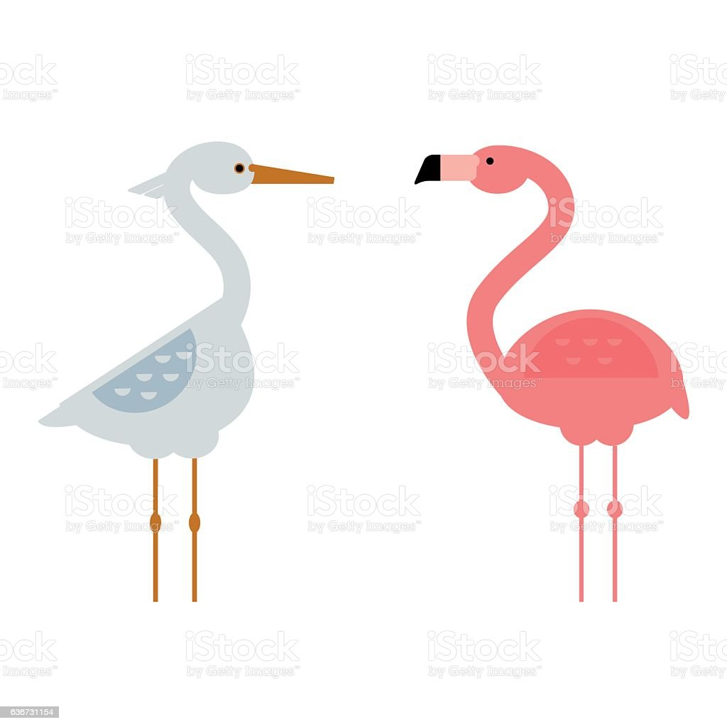 Cool Stork And Flamingo Vector Illustration Stock Vector Art & More ...