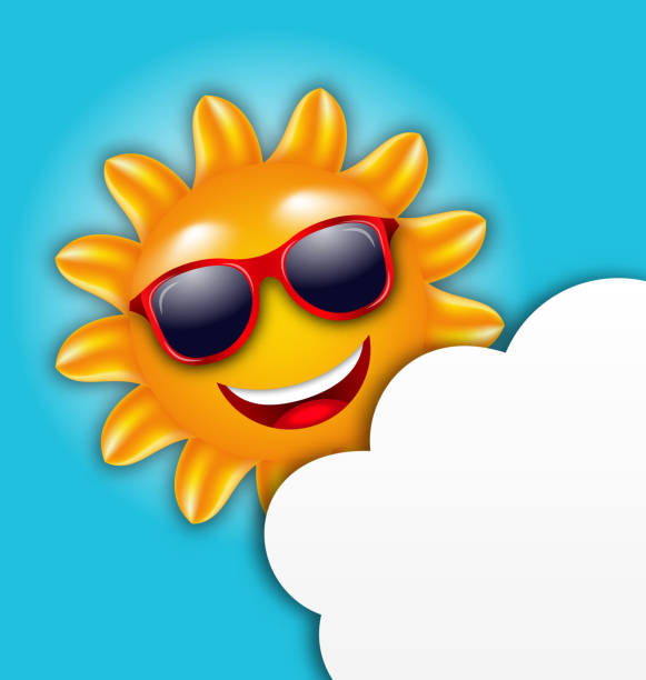 cool summer sun in sunglasses with cloud - smileys zum kopieren stock-grafiken, -clipart, -cartoons und -symbole