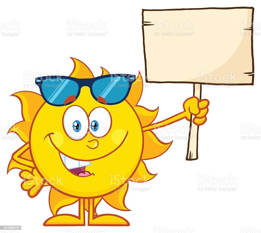 cool sun holding a blank sign stock vector art more images of